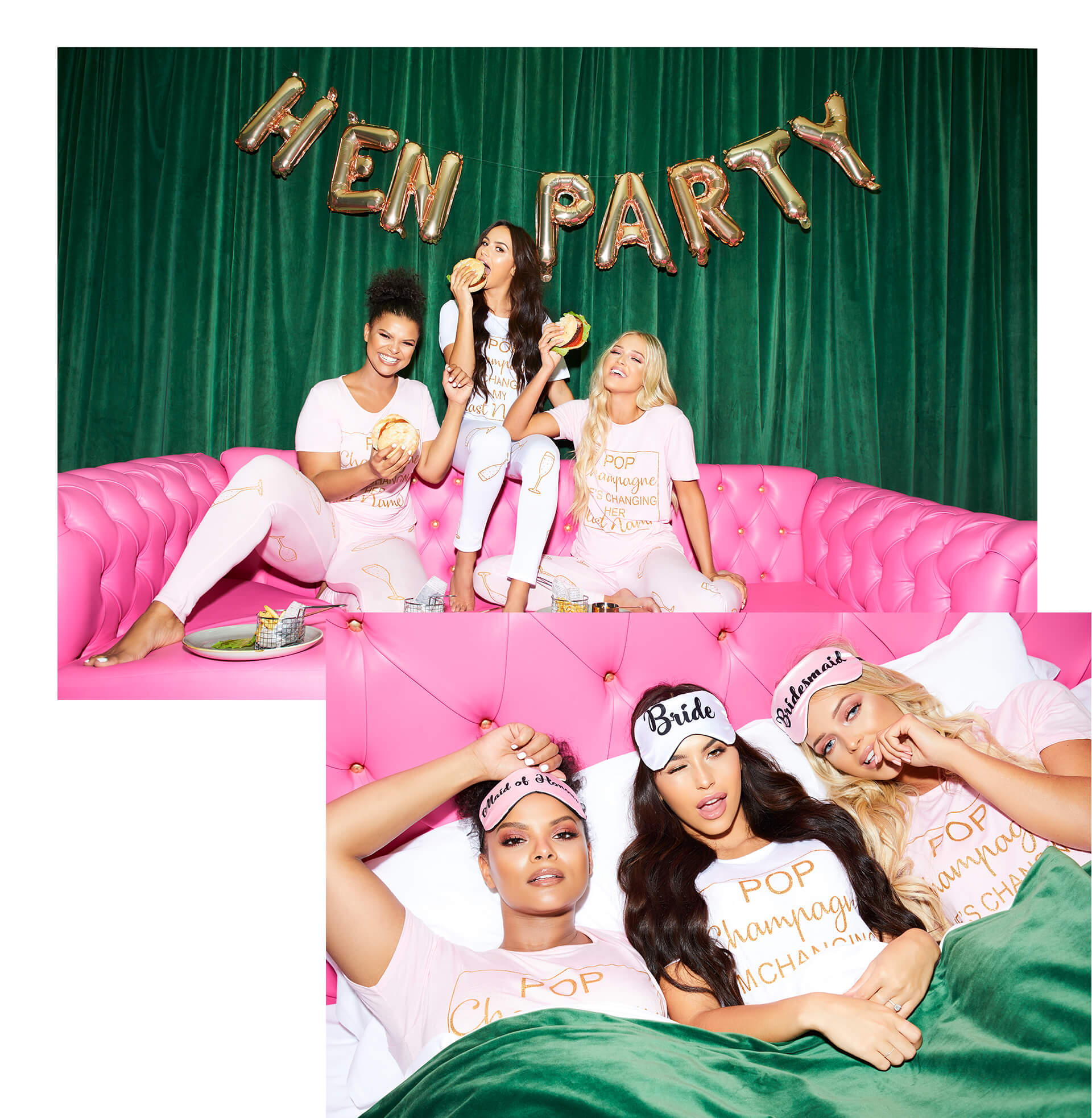 Hen Party Pop Champagne T-Shirt Lookbook Image
