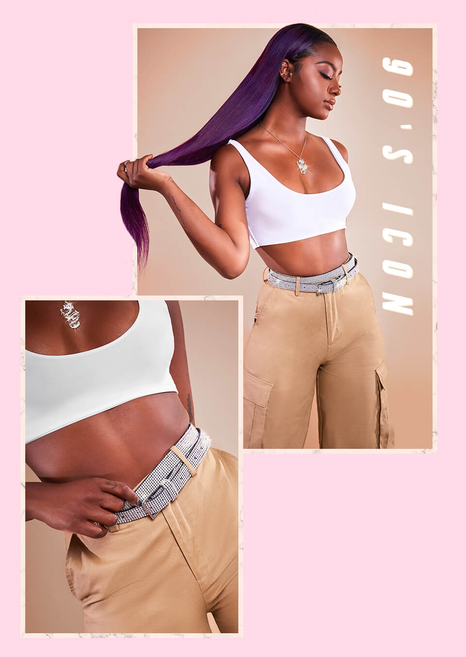 White Crop Top & Beige Cargo Trousers mobile 6