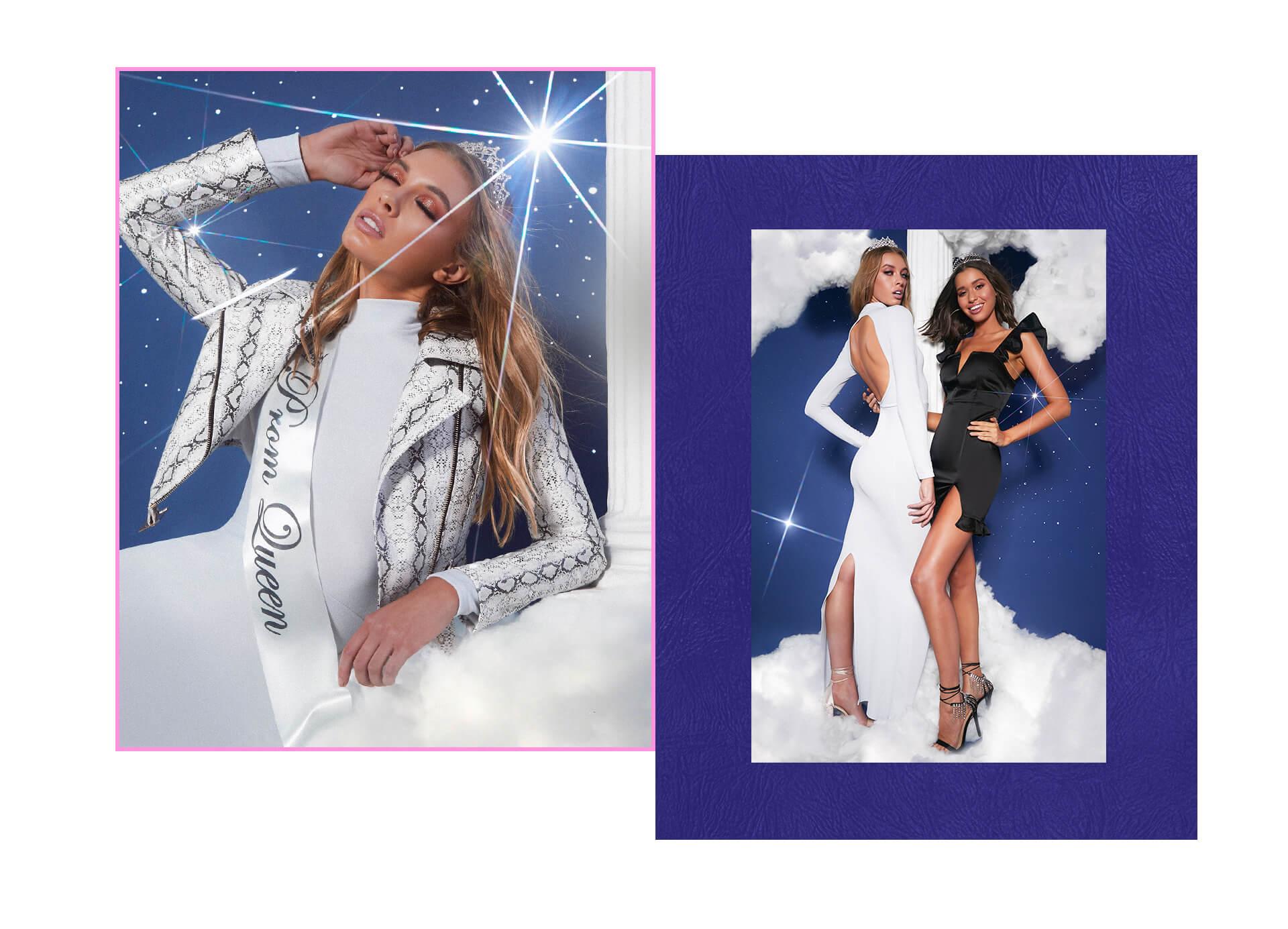 prom feature leopard print jacket, white midi dress and black bodycon dress lookbook image 1
