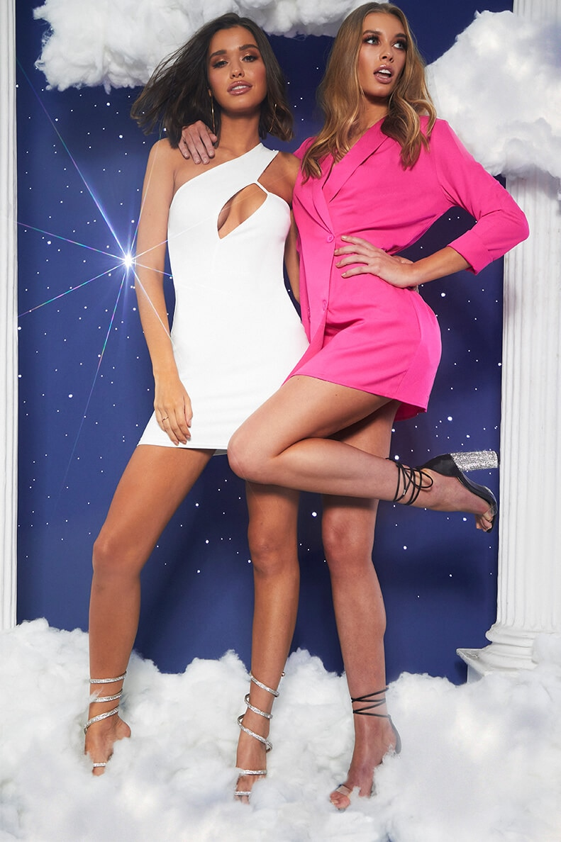 prom feature white bodycon dress and hot pink blazer dress lookbook image 7