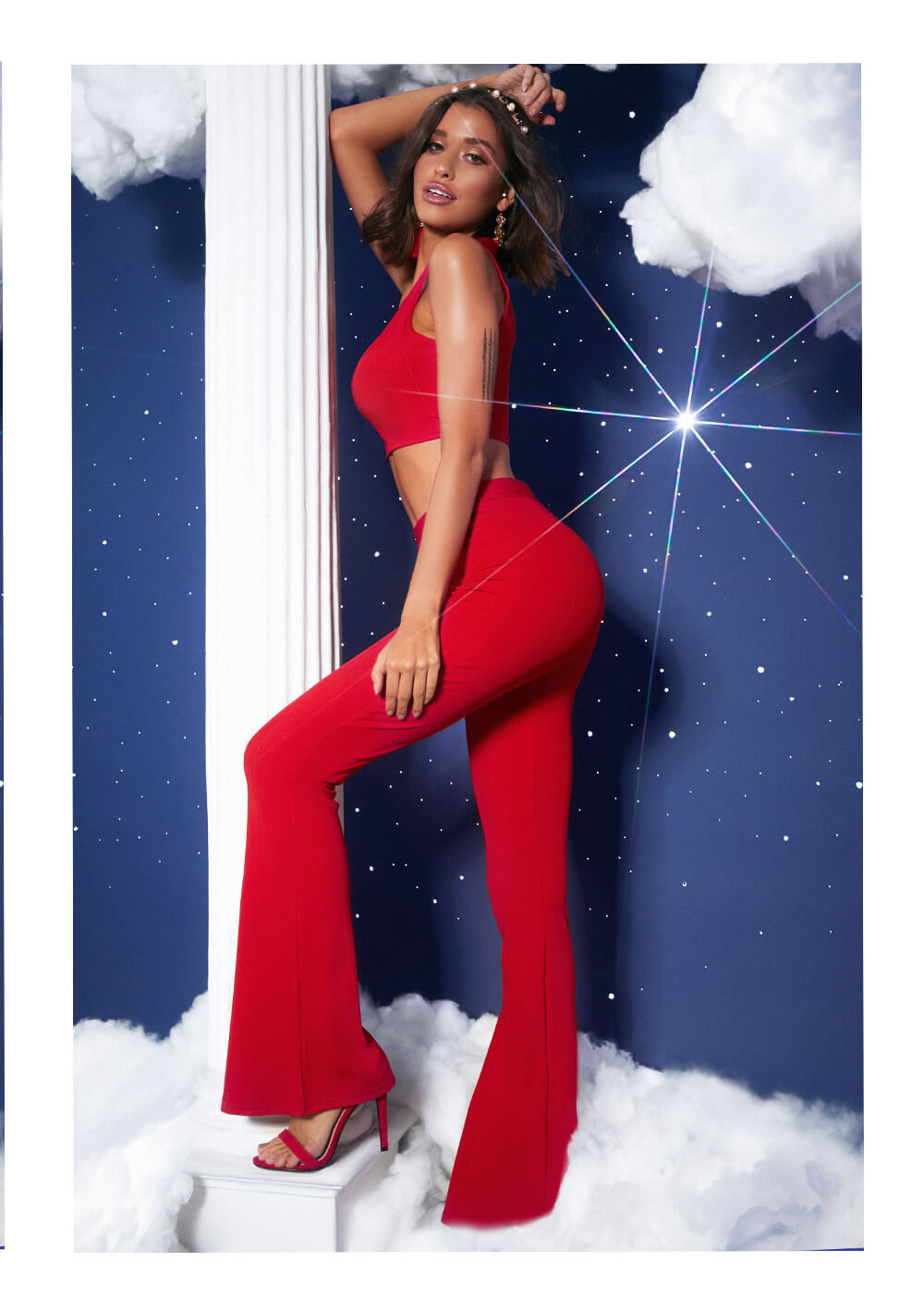 prom feature red crop top and red trousers lookbook image 4
