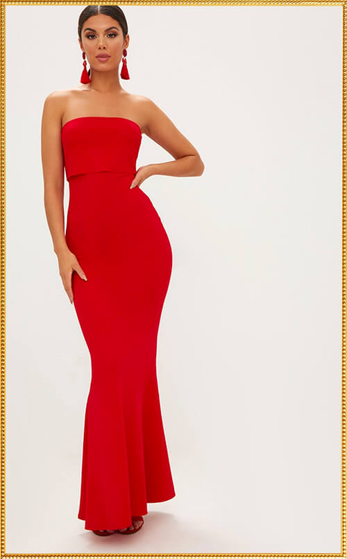 RED BANDEAU FRILL HEM MAXI DRESS