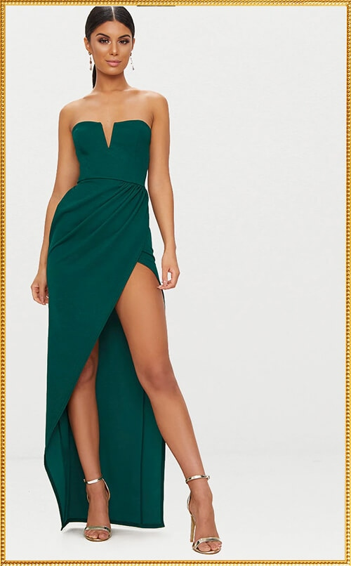 EMERALD GREEN DETAIL MAXI DRESS