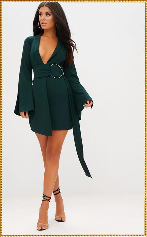 EMERALD GREEN RING BLAZER DRESS
