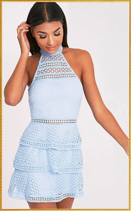 DUSTY BLUE LACE BODYCON DRESS
