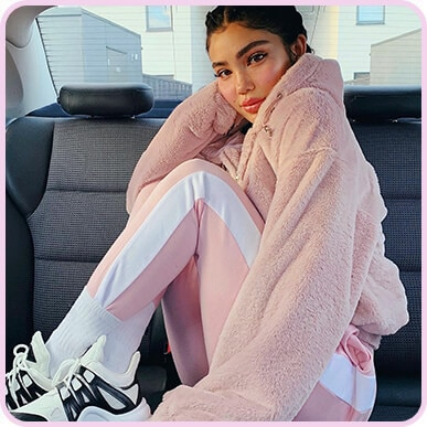 @amandakhamkaew Pink Faux Fur Hooded Bomber