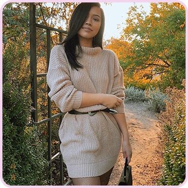 @missjuliakelly Robe en tricot torsadé surdimensionnée gris pierre