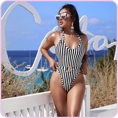 @xthuyle BLACK MONO STRIPE LION BELTED SWIMSUIT