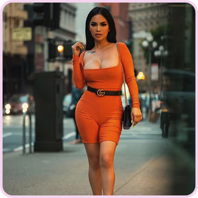 @msashleyvee Shape Orange Slinky Square Neck Unitard