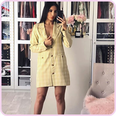 @sananas2106 Beige Check Print Tortoise Button Blazer Dress