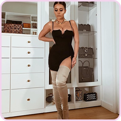 @amrezy Black Extreme Thigh Split Panelled Plunge Bodycon Dress