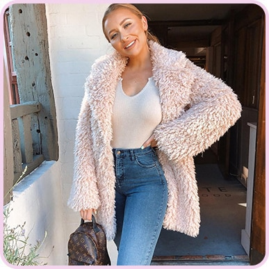 @Sarahhashcroft Stone Teddy Faux Fur Coat