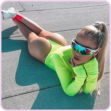 @amyjanebrand Neon Lime Roll Neck Bodysuit