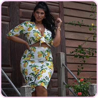 @lateciat White Lemon Print Midi Skirt