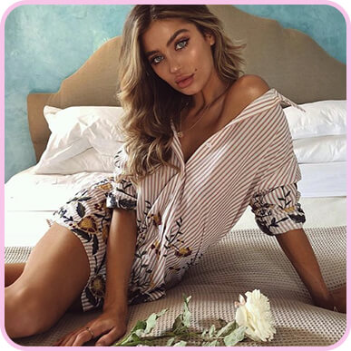 @belle_lucia Nude Embroidered Stripe Print Shirt Dress