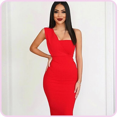 @di1ara RED ONE SHOULDER DRAPED MIDI DRESS