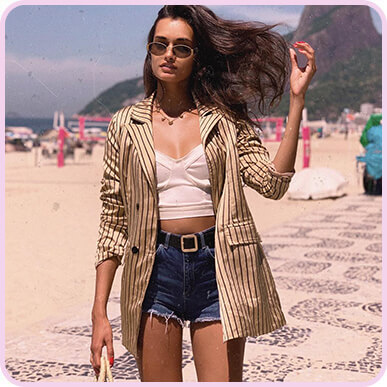 @giizeleoliveira STONE SATIN PIN STRIPE DOUBLE BREASTED BLAZER
