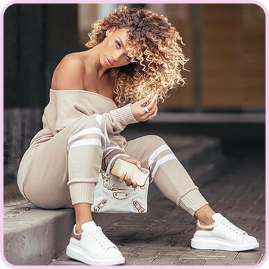 @jenafrumes STONE STRIPE DETAIL JOGGER KNITTED LOUNGE SET