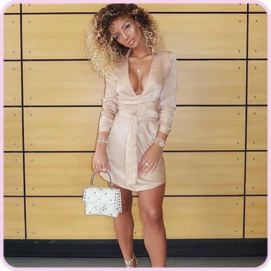 @jenafrumes Champagne Satin Wrap Shift Dress
