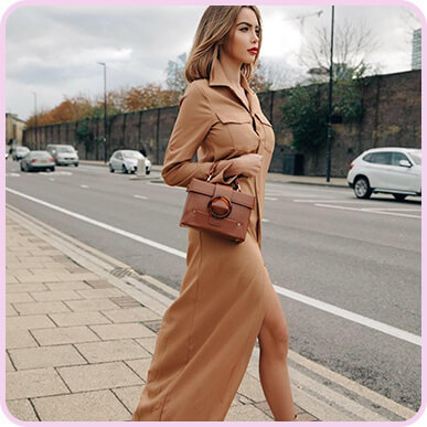 @nabillanew Dark Camel Maxi Shirt Dress