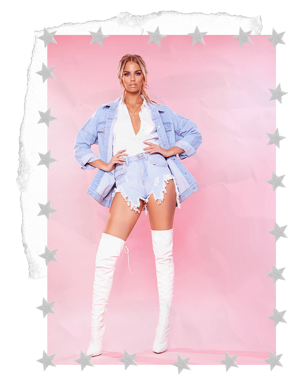 WHITE BLOUSE SHIRT, BLUE DENIM SHORTS & DENIM JACKET & WHITE KNEE HIGH BOOTS