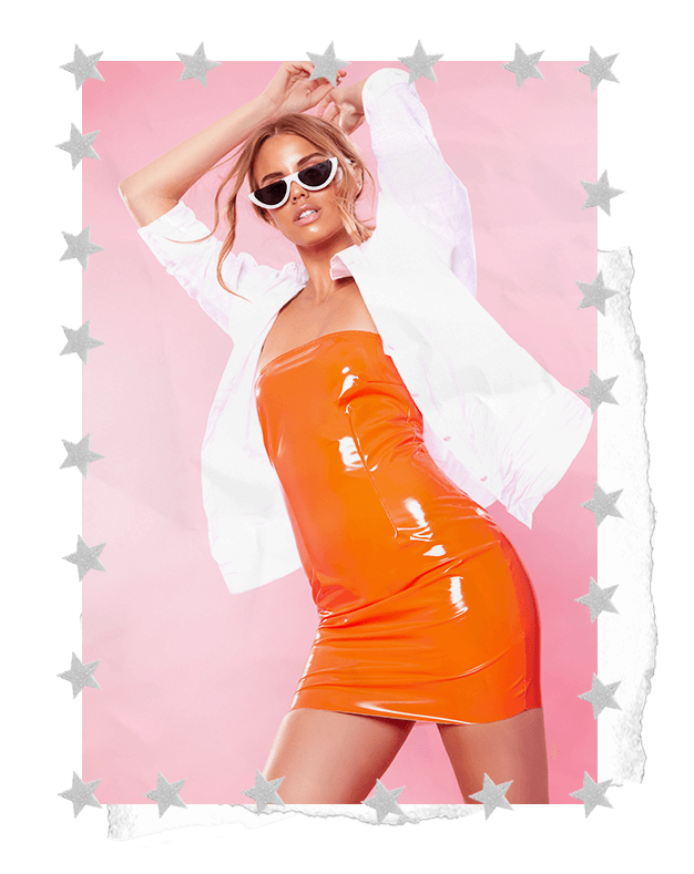 VINYL ORANGE BODYCON DRESS AND WHITE BLOUSE SHIRT