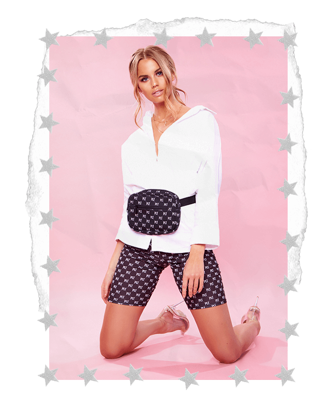 PRETTYLITTLETHING SLOGAN CYCLE SHORTS & WHITE BLOUSE SHIRT WITH PRETTYLITTLETHING BUM BAG