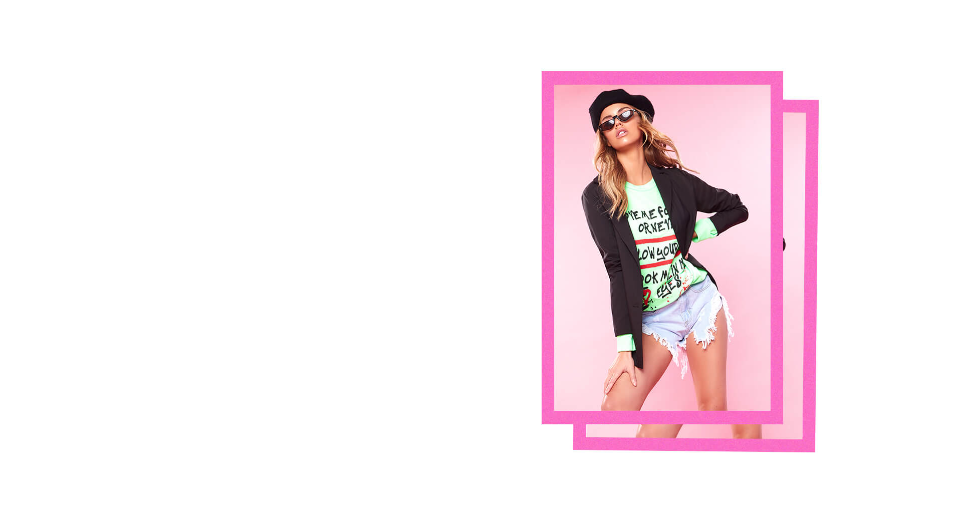 black blazer and neon green long sleeve graffiti shirt with denim shorts student style