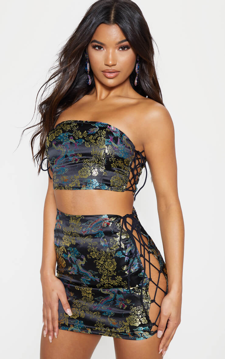 Black Oriental Jacquard Strappy Mini Skirt