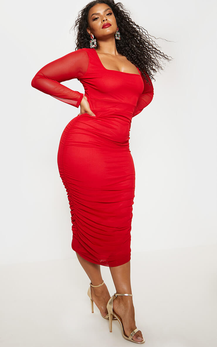 Plus Red Mesh Ruched Midi Dress