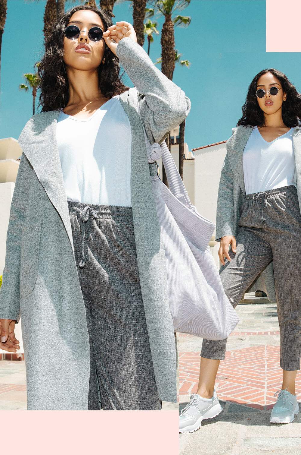 white basic t shirt and grey culottes mobile