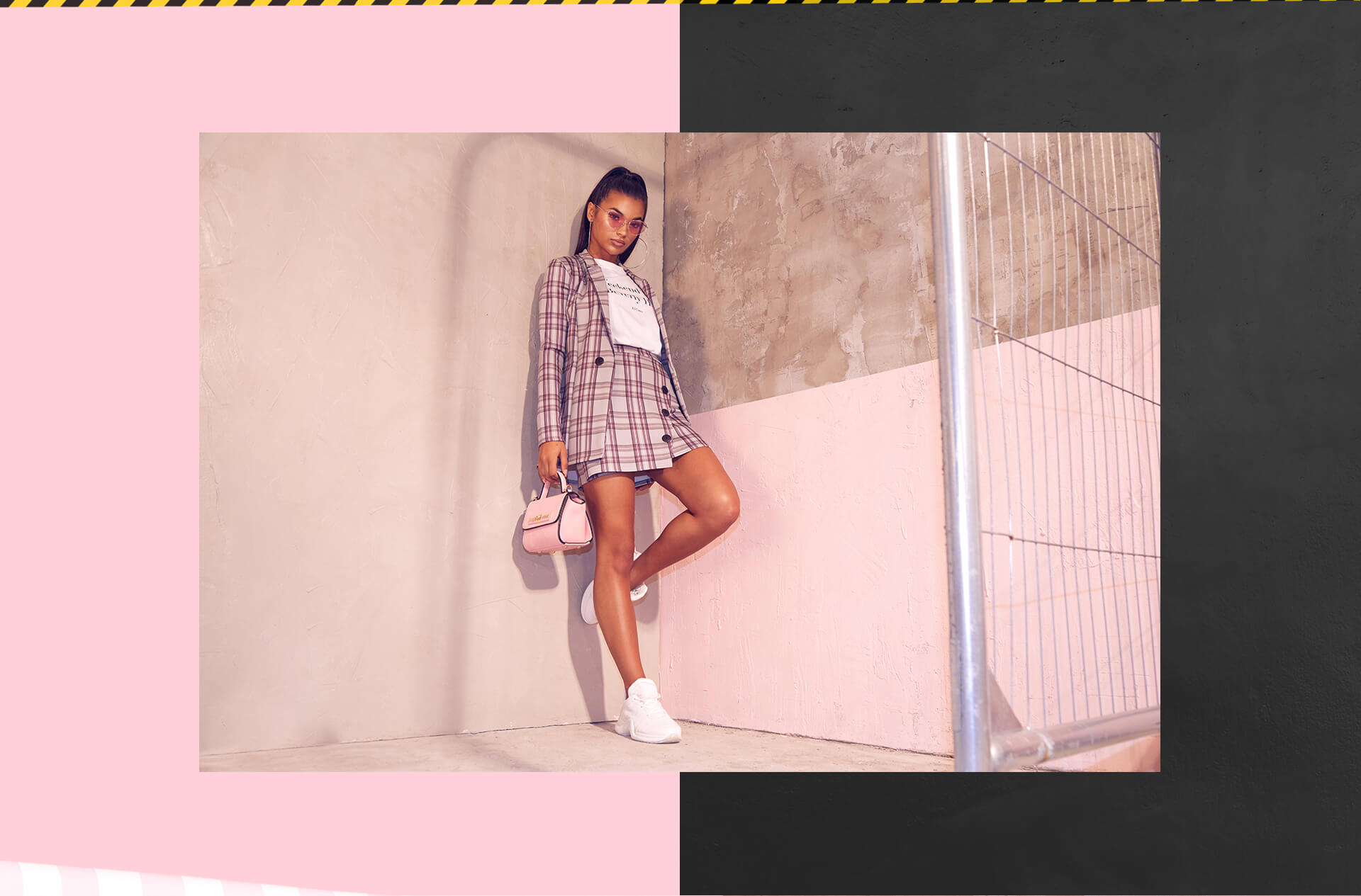 Workwear Shoot 10 Pink Tartan Blazer & Pink Mini Skirt & Oversized T-Shirt Desktop