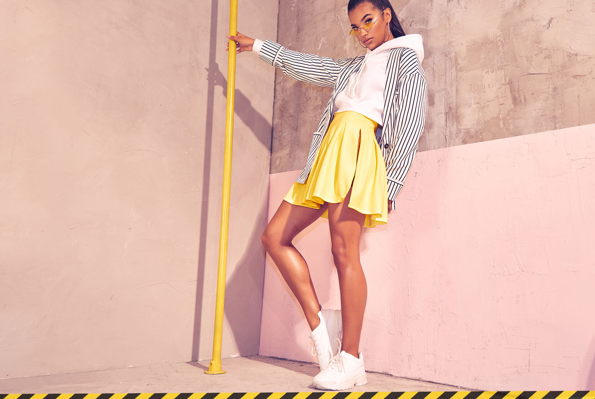 Workwear Shoot 2 Stripe Blazer, Yellow Mini Skirt & White Hoodie Desktop