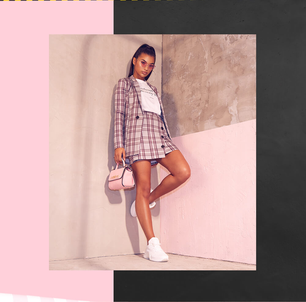 Workwear Shoot 10 Pink Tartan Blazer & Pink Mini Skirt & Oversized T-Shirt Mobile