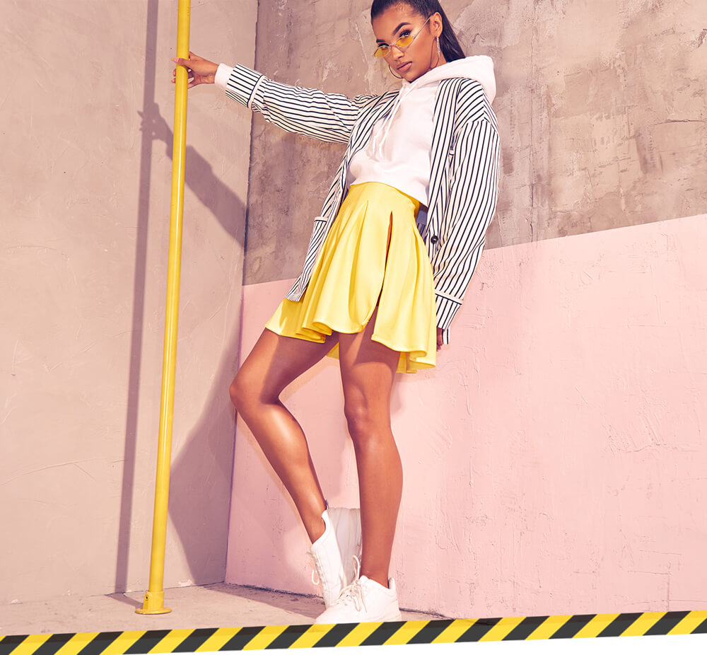 Workwear Shoot 2 Stripe Blazer, Yellow Mini Skirt & White Hoodie Mobile