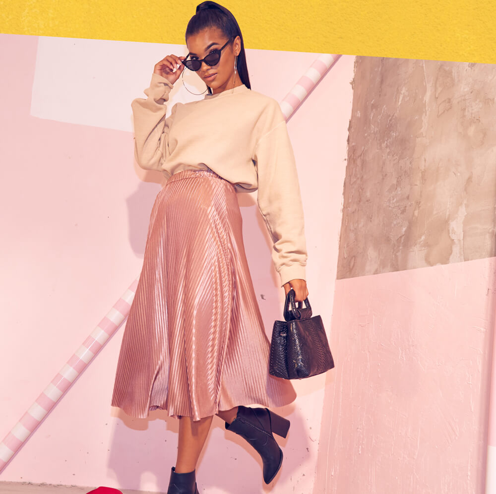 Workwear Shoot 5 Beige Sweater & Light Pink Midi Skirt Mobile